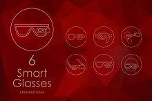 6 high-tech glasses line icons