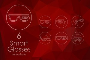6 high-tech glasses line icons