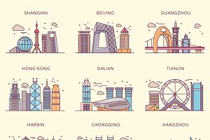Icons Chinese Major Cities Flat Styl