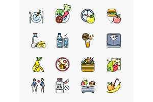 Collection of Icons on Theme Diet