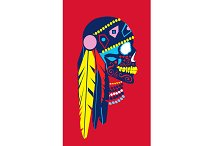 Indian skull icon colorful feathers