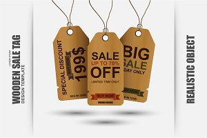 Realistic Wooden Sale Tag Vector