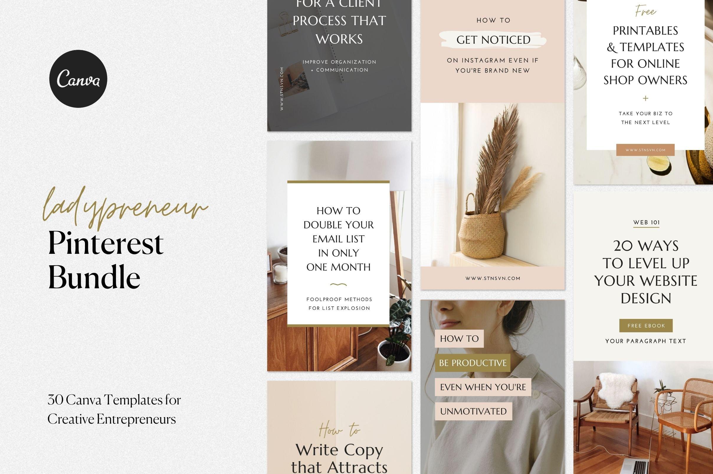 Pinterest Canva Bundle   Creative Canva Templates ~ Creative Market