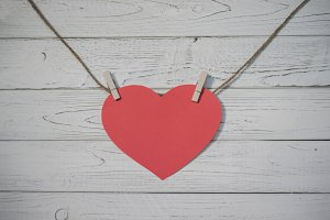 heart on the wooden wall