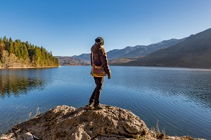 Female hiker at lake Bohinj