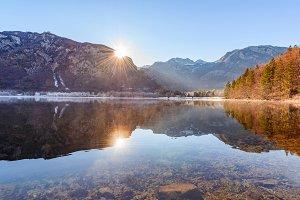 Beautiful reflections at lake Bohinj