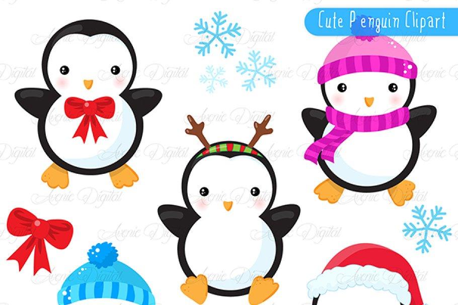 c4f310d0a820e Christmas Penguins Clipart + Vectors ~ Illustrations ~ Creative Market