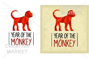 Red fire Monkey New Year 2016