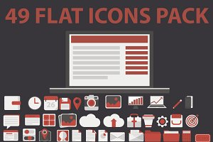 49 FLAT ICONS PACK