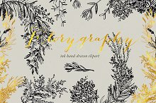 Florygraphy. Calligraphy ink clipart