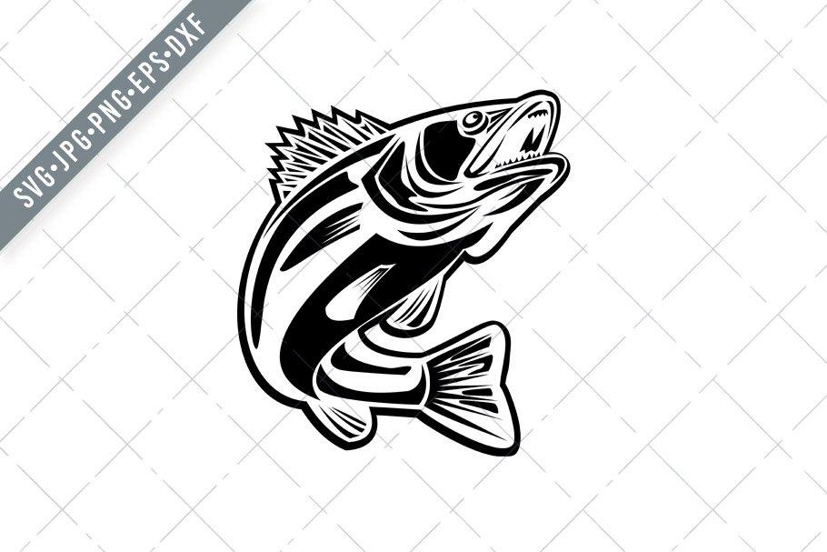 Download Barramundi Fish Jumping Up Retro Svg Pre Designed Illustrator Graphics Creative Market