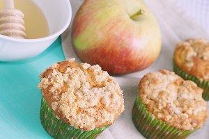 Apple muffins in green paper cases