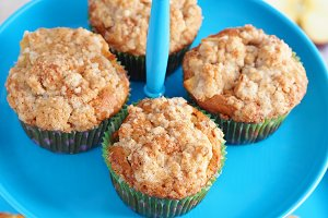 Muffins on blue cake stand