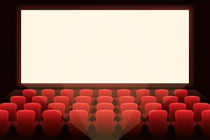 Cinema with white screen