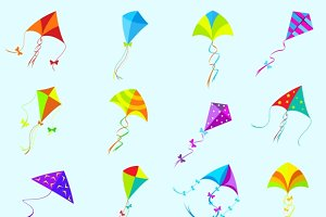 Vector color kite set