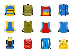 Travel backpack, school bag icons