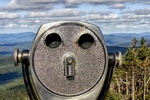 Binoculars in landscape