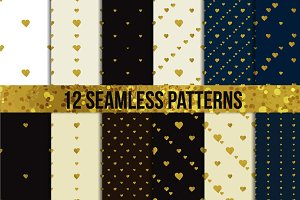 Golden foil hearts. Seamless set