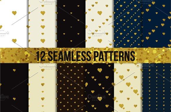 Golden foil hearts. Seamless set - Patterns