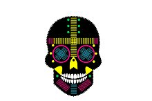 Mexican sugar skull with white teeth