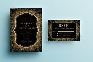 Gold glitter wedding invitation
