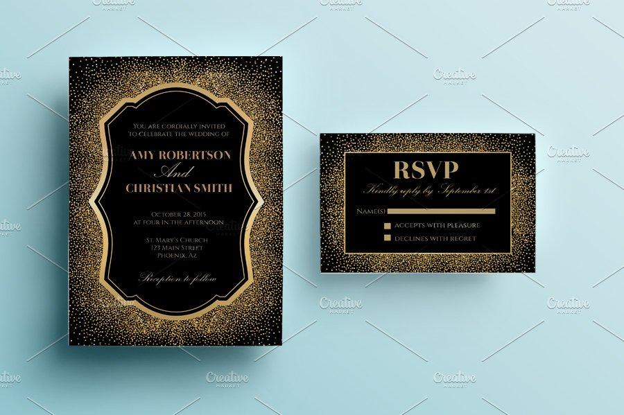 Gold glitter wedding invitation invitation templates creative market stopboris Choice Image