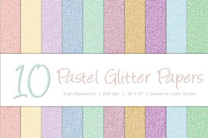 Spring Pastel Glitter Papers