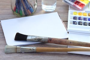 brushes with white canva