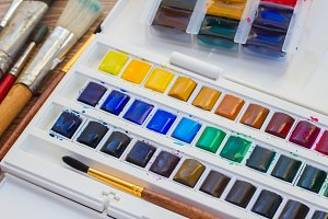 wet watercolor paints