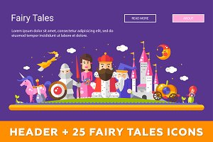 25 Fairy Tales Icons Set + Header