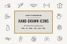 Hand-Drawn Covid-19 Prevention Icons by  in Graphics