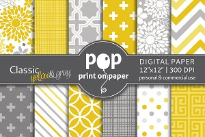 Classic yellow gray 12 digital paper