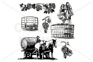 Women dancing in barrel with grapes
