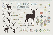 Tribal Boho deers, arrows, horns