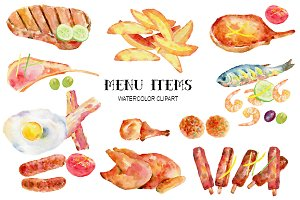Watercolor Clipart Menu Items