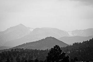 Black White Mountain Landscape