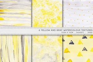 6 Watercolor Textures Yellow Gray