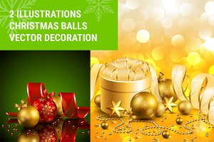 Christmas background balls vectors