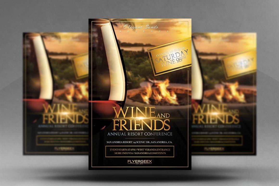 wine friends flyer templates creative market