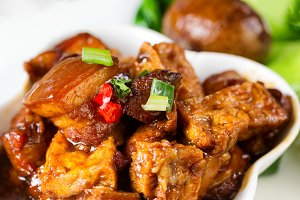 Asian dish of tofu and meat