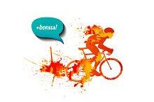 Watercolor racing cyclist + bonus