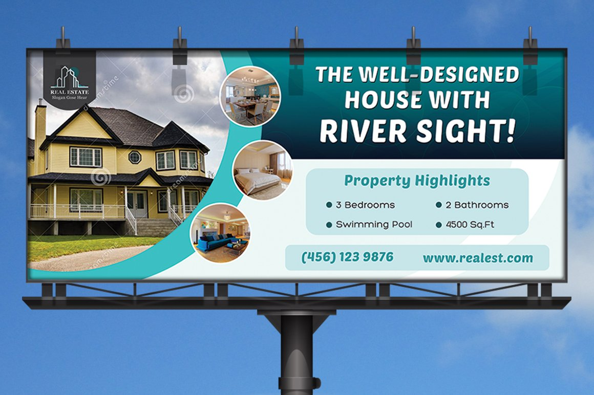 Real Estate Business Billboard Templates Creative Market