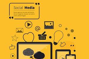Social Networks Media Online Flat