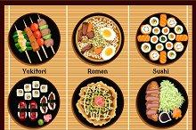 Japanese Cuisine Set Dishes Flat