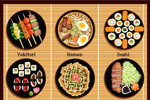 Japanese Cuisine Set Dishes Flat