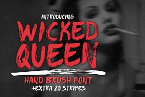 WICKED QUEEN Brush Font +extra