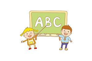 children learn letters ABC board