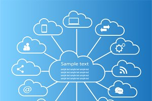 Cloud computing technology blue