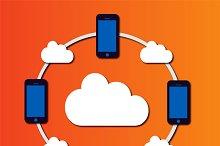 Cloud computing mobile icons