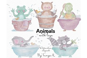 Cute Animals Watercolor Clipart